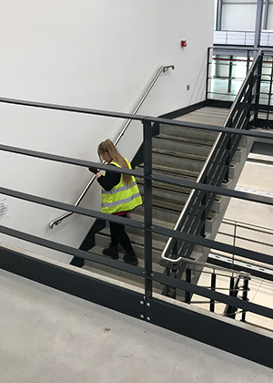 Woman Cleaning Stair Rails